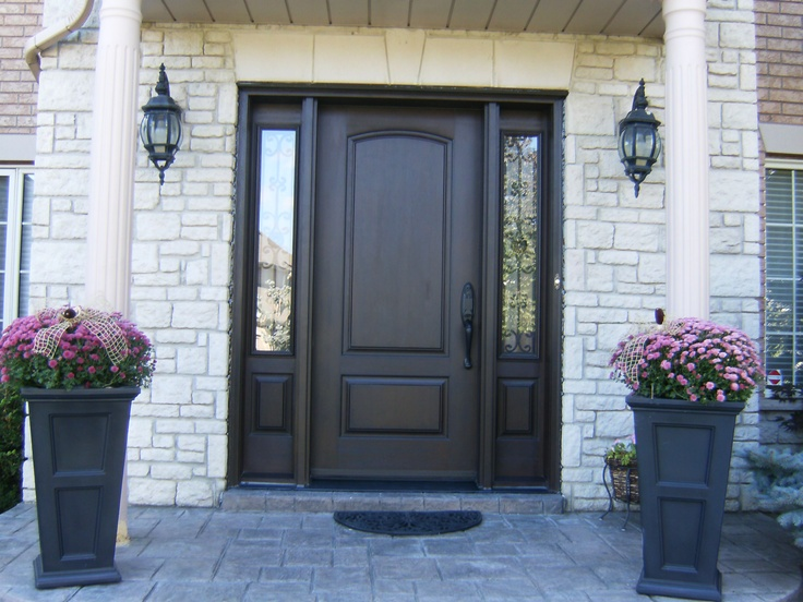 Front Door With Sidelights Repairs Ny: Double Door Replaced With Arched Fiberglass Door And Two 3