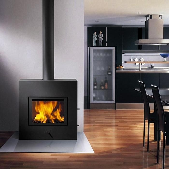 sleek freestanding wood stove with self cleaning glass