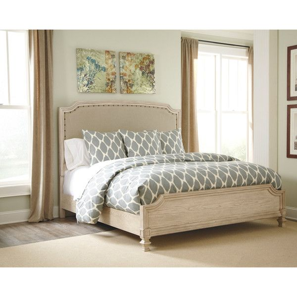 Ashley Demarlos Arched Top Panel Bed ($1,041) ❤ liked on Polyvore featuring home, furniture, beds, white, queen bed, white queen headboard, king size headboard, white king headboard and white king bed