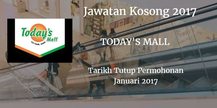 Jawatan Kosong TODAY'S MALL Januari 2017  TODAY'S MALL mencari calon-calon yang sesuai untuk mengisi kekosongan jawatan TODAY'S MALL terkini 2017.  Jawatan Kosong TODAY'S MALL Januari 2017  Warganegara Malaysia yang berminat bekerja di TODAY'S MALL dan berkelayakan dipelawa untuk memohon sekarang juga. Jawatan Kosong TODAY'S MALL Terkini Januari 2017: LEASING EXECUTIVE Presenting properties and provided amenities or facilities in a positive light to PROSPECTIVE & POTENTIAL Tenants Advertise available properties in Mall by using a variety of media and promoting materials to prospective tenants. Confirm rental application data and personal references. Provide information in all aspect of properties to potential tenants. Negotiate the term and condition with potential tenants to make a close deal. Ensure proper maintenance and inspect properties periodically to build a good trust relationship with potential tenants. Requirement: At least 1 years experience. Up to date with property market status. Familiar with Microsoft product like Word Excel Power Point & etc. Excellent communication & negotiation skills in Malay & English. Can work independently Sales skills and ability to build productive business relationships. ADVERTISING & PROMOTION EXECUTIVE Job Description: Organize event. design and production while managing all project delivery elements within time limits. Liaise with clients and environment situation to identify their needs and to ensure people satisfaction with event. Provide feedback and periodic reports to top management after event. Organize facilities and manage all event details such as decor catering entertainment transportation location invitee list special guests equipment promotional material and etc. Cooperate with marketing and PR to promote and publicize event. Willing to travel Requirement: At least 1 - 5 years experiences as an events planner or organizer. Impressive portfolio of previously managed events example weddings meetings parties cor