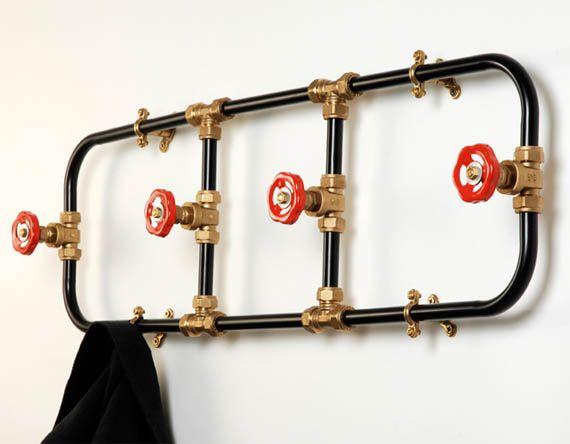 DIY Pipe Works Coat Rack via Cool Material: