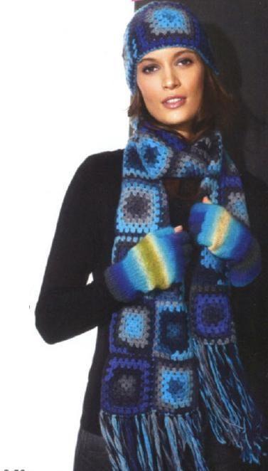 Женская вязаная шапка и шарф крючком из мотивов бабушкин квадрат
