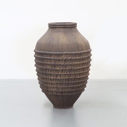 Large Ridged Rustic Pot in Fossil Finish. GRC product.