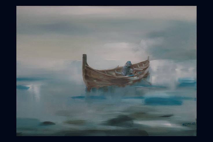 """""""Row-boat"""". Original oil-painting by the artist Sindre Ekrheim Mosand. This is a painting of a boat that has the same construction as the viking ships had. In a way it gives a feeling of sentimentality and wondering of history that has disappeared. The row-boat is of a kind people in Norway used to fish for a living 100 years ago."""