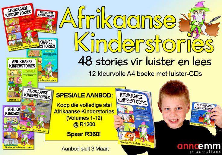 Twaalf A4 storieboeke met bypassende CDs - 4 stories in elke uitgawe. www.AnnaEmm.co.za
