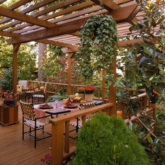 Cedar is a low-maintenance choice for a sturdy pergola. The wood species' natural oils help it resist rot and other damage. Treatment with a waterproofing sealer every couple of years will extend the cedar's life span and give it a more appealing finish.