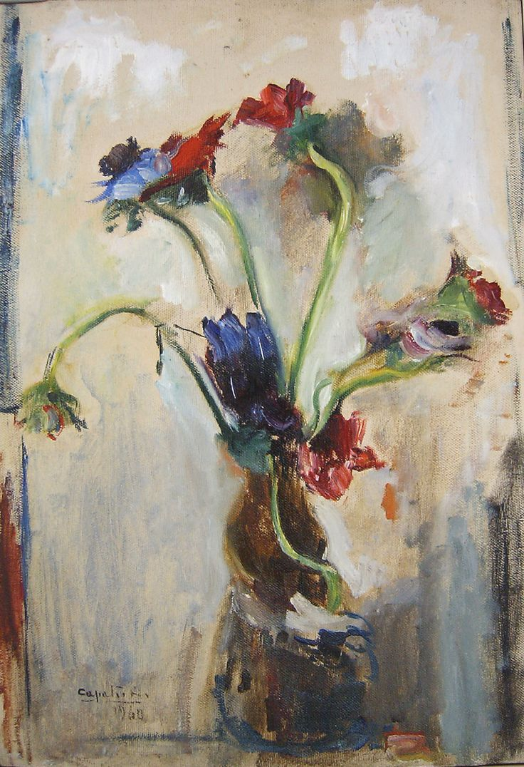 Rubens Capaldo (Parigi 1908 - Napoli 1998) Anemoni 1960 olio su tela cm 35x50 Napoli Coll. Privata
