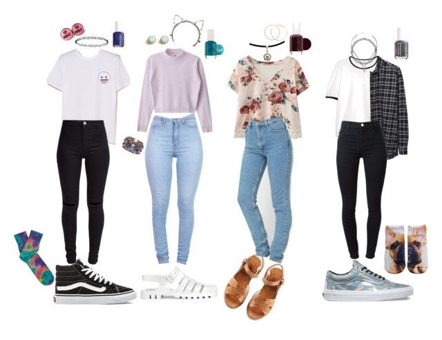 """""""90s School Outfits"""" by stellaluna899 ❤ liked on Polyvore featuring MANGO, Charlotte Russe, Vans, Essie, Anonymous Ism, A.P.C., 6397, Eugenia Kim, Topshop and New Look"""