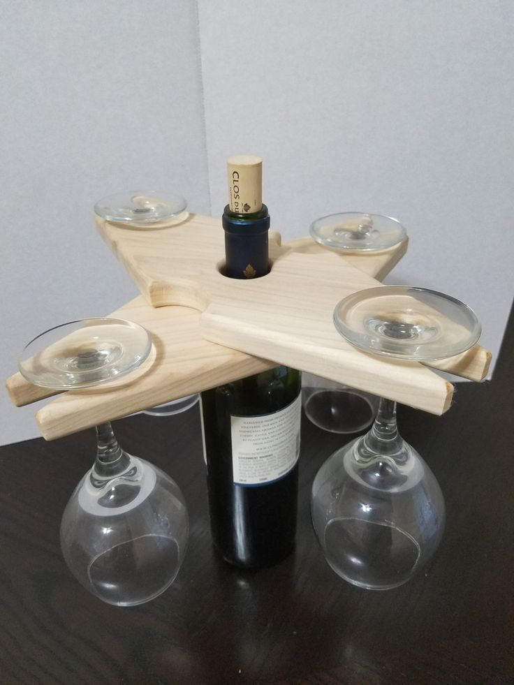 Poplar wine rack, Wine glass holder, Wine caddy, Wood wine  bottle and  glasses display, Rustic wine rack, Wine for four display by HenryHoutWoodworking on Etsy