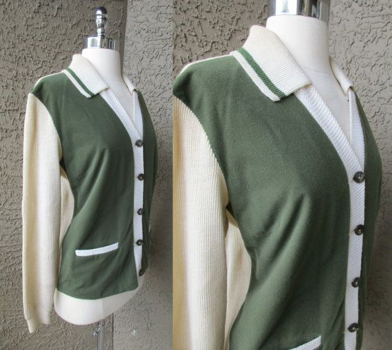 60s Off White and Olive Green Cardigan by by GeekGirlRetro on Etsy