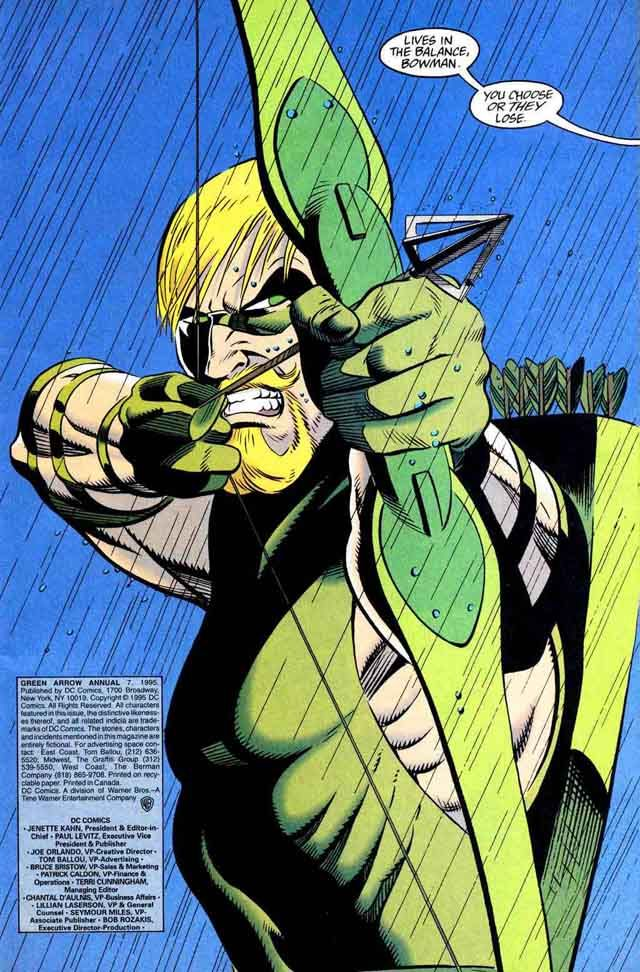 """Green Arrow by Rick Burchett - """"Lives in the balance, bowman. You choose or they lose."""""""