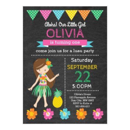 Hawaiian Luau Birthday Invitation - party gifts gift ideas diy customize