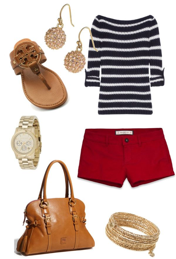 navy stripes and red shorts with gold jewelry.
