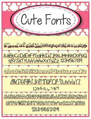 Cute Fonts FREE set of 5 from The Resourceful Teacher on TeachersNotebook com    1 page    FREE set of 5 cute fonts  For private or commercial use