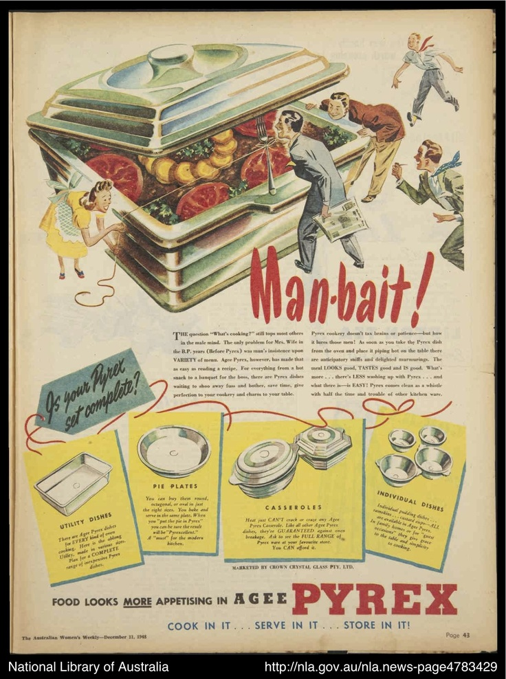 """Gotta love this from a marketing perspective!  Pyrex as """"man bait!"""" 1948"""