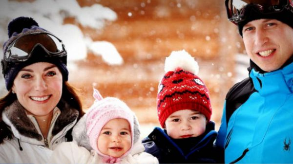 """Prince William and Duchess Kate took Prince George and Princess Charlotte on their first ski trip to the French Alps and shared the adorable photos with the public. """"The Duke and Duchess are delighted to share new photos of their family enjoying a short ski break,"""" Kensington Palace said. George and Charlotte are both bundled up in snow suits and wooly hats in the new photos."""