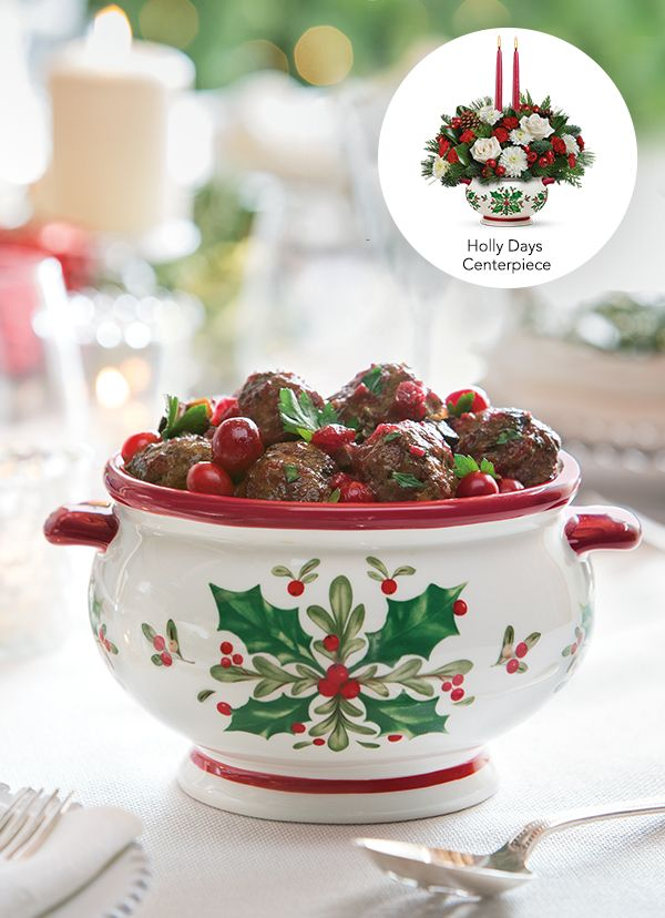 Teleflora's Holly Days Centerpiece - complete with the recipe for Buddy Valastro's Christmas Meatballs