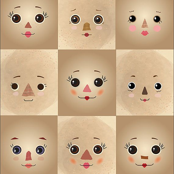 Prim rag doll faces printed on tan cloth background  Fabric doll face panel with 9 different faces—these sweet little faces were inspired by rag dolls and cloth dolls with primitive style patchwork faces.  Use these cotton poplin faces in your original doll projects. The scale is great for dolls 10 to 18 inches (25-46 cm) tall depending on desired head proportions. Square size: 3.5 inches wide by 4 inches tall (9 by 10 cm) Flat face size: about 3.5 inches tall (9cm) Stuffed face size: 3…