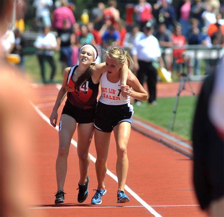 Meghan Vogel, a high school runner, helps her exhausted
