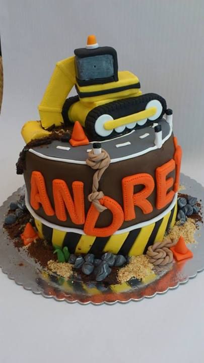 gum paste bulldozer, cakes for boys