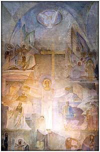 Lennart Segerstråle, 1892-1975, (Finnish): Let Your Kingdom Come, 1953-54. Fresco on the altar wall of Varkaus Church.