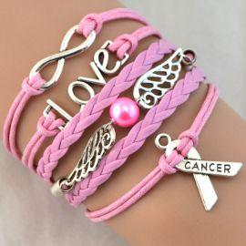 Silver Infinity Breast Cancer Love Charm Awareness Ribbon Bracelet