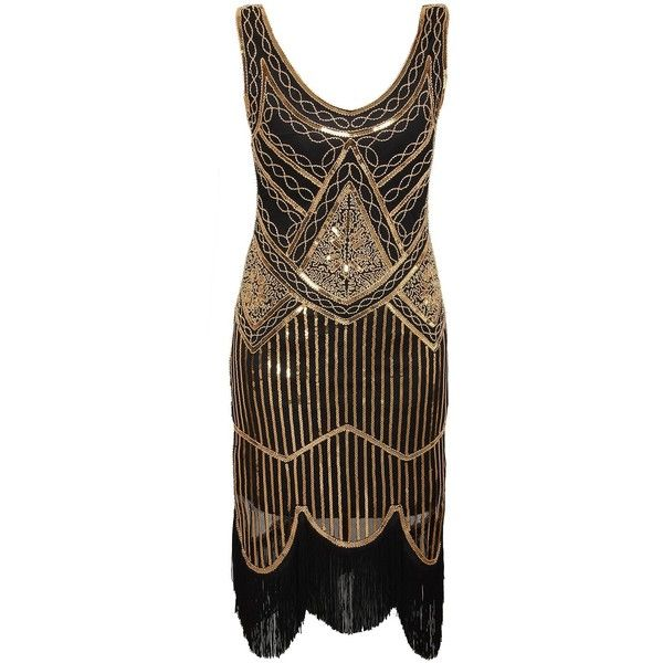 Vijiv Women's 1920s Gastby Inspired Sequined Embellished Fringed... ($33) ❤ liked on Polyvore featuring dresses, fringe cocktail dresses, 1920s cocktail dresses, brown fringe dress, roaring 20s dress and sequin fringe dress