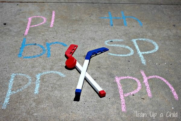 Anything that mixes learning & hockey is ok in my book!  Gross Motor Phonics Games ~ Learn Play Imagine