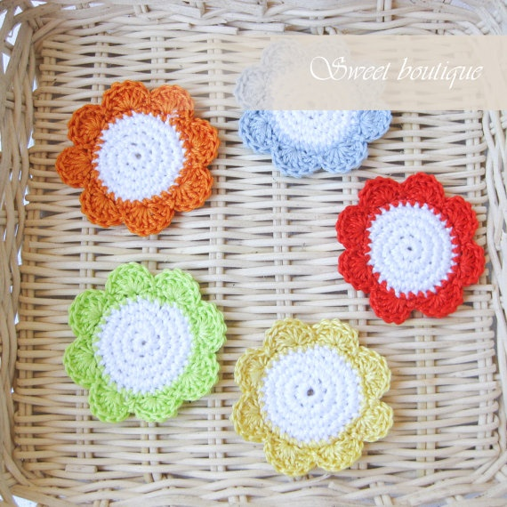 Crochet rainbow flower appliques  Set of 5  for by MSweetboutique, $7.00