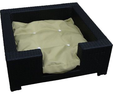 Cosmo Outdoor Wicker Patio Medium Dog Bed - contemporary - Dog Beds - Design Furnishings