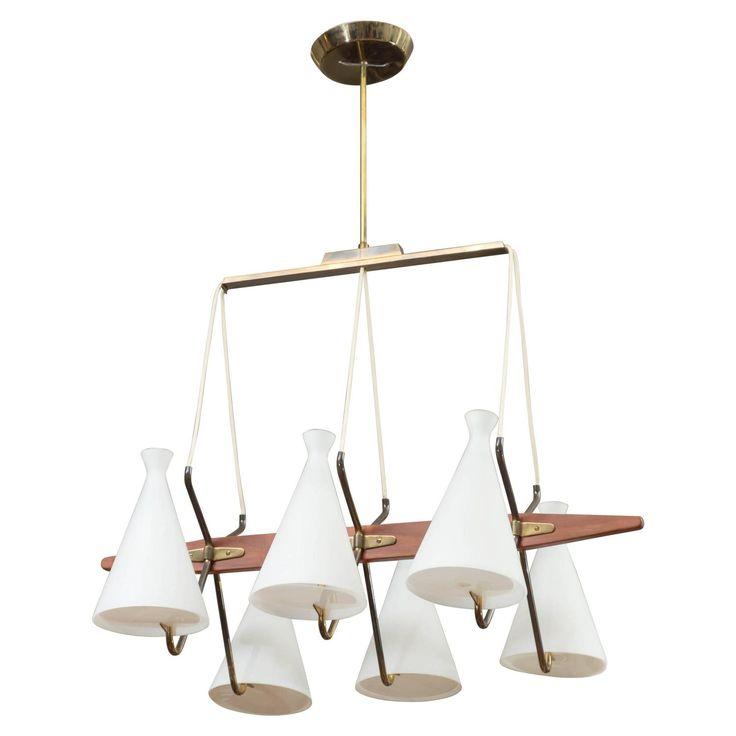 Danish Modern Six-Light Walnut, Brass and Glass Chandelier by Thomas Industries | 1stdibs.com