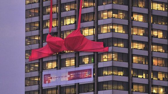 World's biggest bra unveiled for breast cancer awareness campaign | Guinness World Records