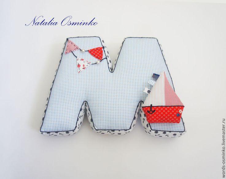 Купить Буквы МОРЕ (в наличии) /подушки буквы/ мягкие буквы - голубой, буквы-подушки