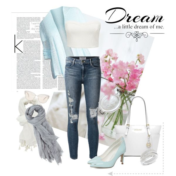 Jeans And Soft Colour by miqua on Polyvore featuring Mode, Eileen Fisher, Forever New, Frame Denim, Dorothy Perkins, Michael Kors, Oliver Peoples, Toast, Charlotte Russe and Love Quotes Scarves