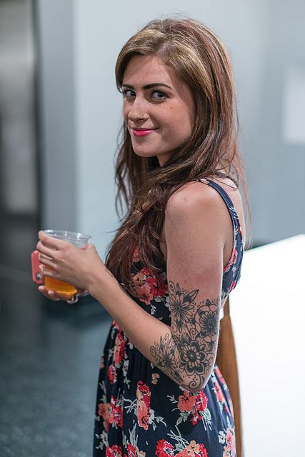 long elbow tattoos | Girl With Floral Print Dress and Tattoo