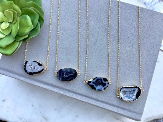 Christmas Gift Ideas Druzy Agate,Gold Necklace Electroplated Druzy Druzy Bar Necklace Natural Druzy Quartz Necklace 14k Gold Filled