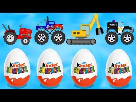 tractor monster truck excavator police car for kids bajka od baby dinosaurs youtube https