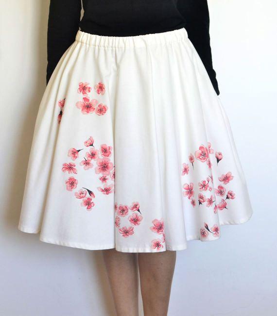 Cherry blossom skirt Circle skirt Hand painted skirt