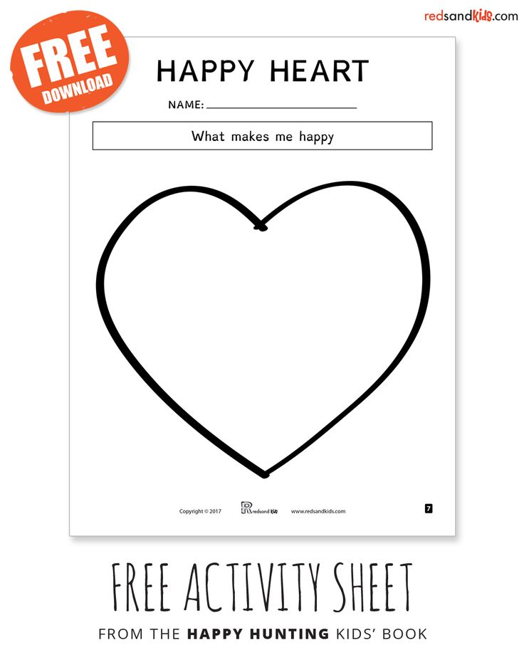 FREE happy heART activity from the Happy Hunting kids' book / because happy lives inside of you / find this activity inside the Happy Hunting softcover book available on amazon or in the Happy Heart Lesson Plan on the Free Stuff page of our website