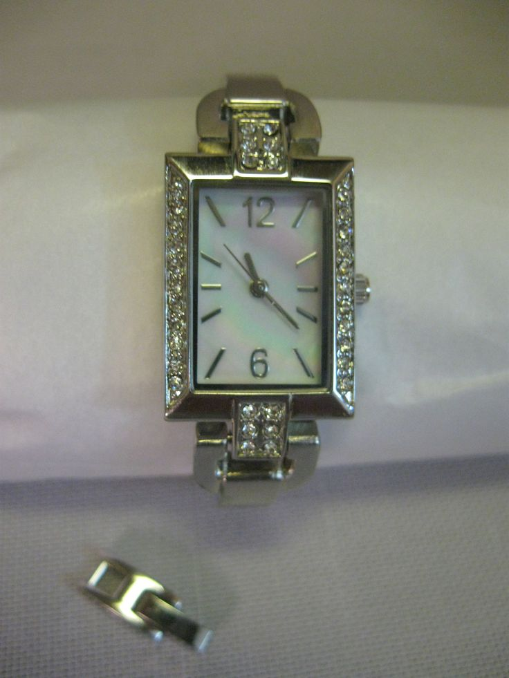 Ladies Cocktail Party Watch Silver Tone Rhinestone Face Mother Of Pearl Base Metal Bezel 1508