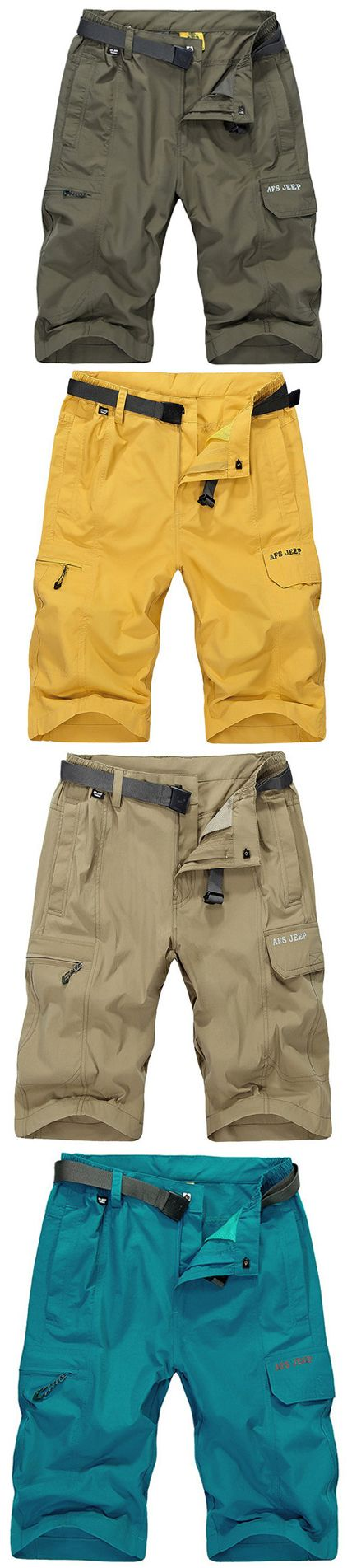 AFSJEEP Mens Summer Water-repellent Breathable Quick Dry Zippered Pocket Shorts