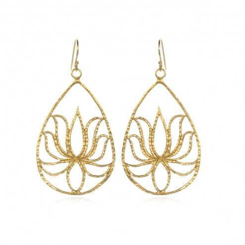 Satya 24kt Gold Plated Teardrop Lotus Earrings