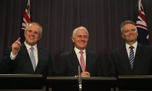 Treasurer Scott Morrison, prime minister Malcolm Turnbull and finance minister Mathias Cormann make their company tax cut announcement in Canberra on Friday.