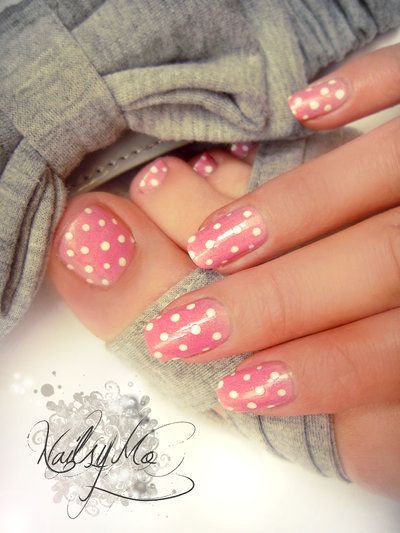 Small polka dot nail art: two color colour design: light pink base with small white polka dots (cute for toe-nails too) #spring #summer