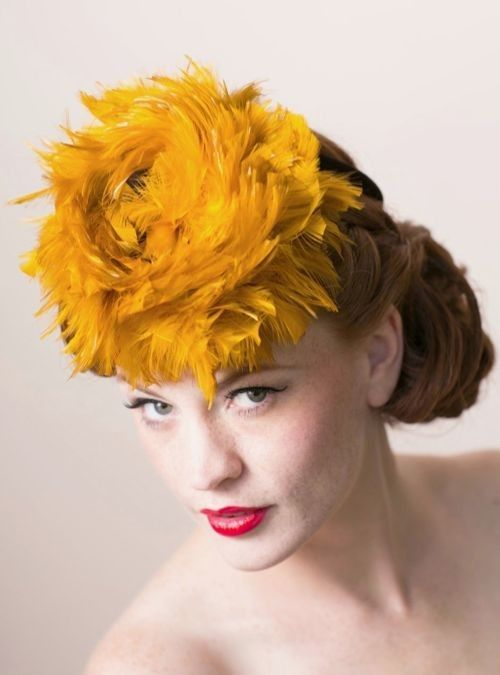 1940s tilt hat doll hat brown gold feathers wired ring back from Viva Vintage Clothing