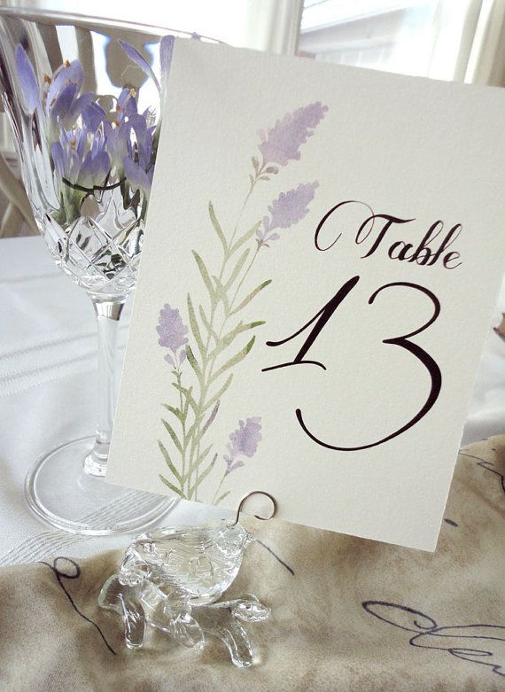 Set of 15 Lavender Table Number Cards by NooneyArt on Etsy, $26.25