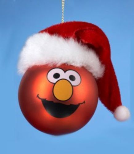Elmo Christmas Tree Ornament Sesame Street Xmas Face Santa Claus Hat TV Kids New