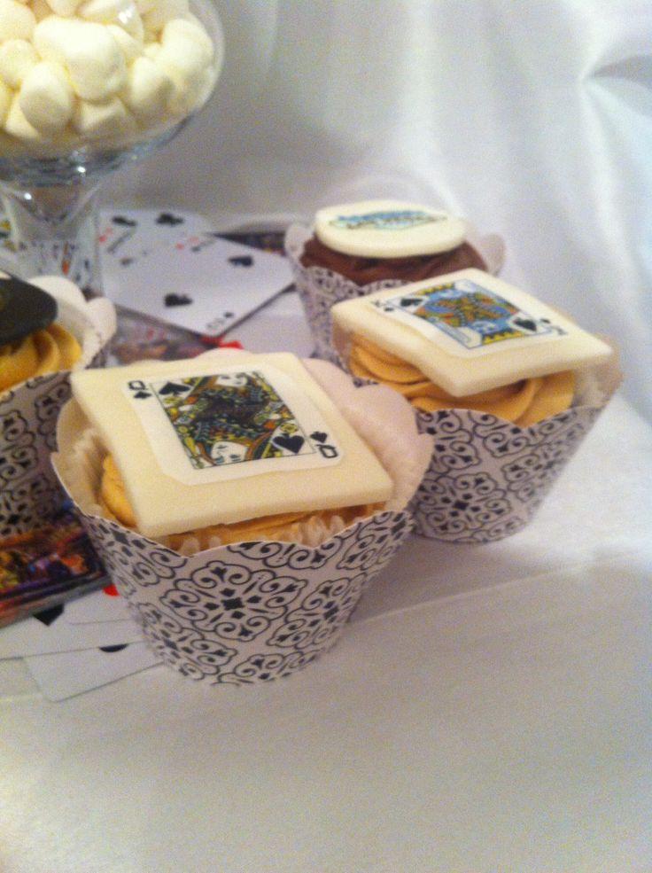 Playing cards cupcakes - peanut butter cupcakes - Las Vegas theme