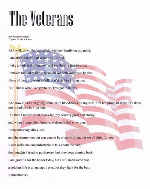 Veterans Day Thank You Poems | Flag Day Poems For Kids ...