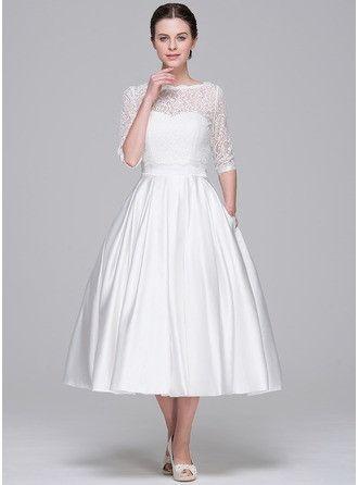 A-Line/Princess Sweetheart Tea-Length Satin Wedding Dress
